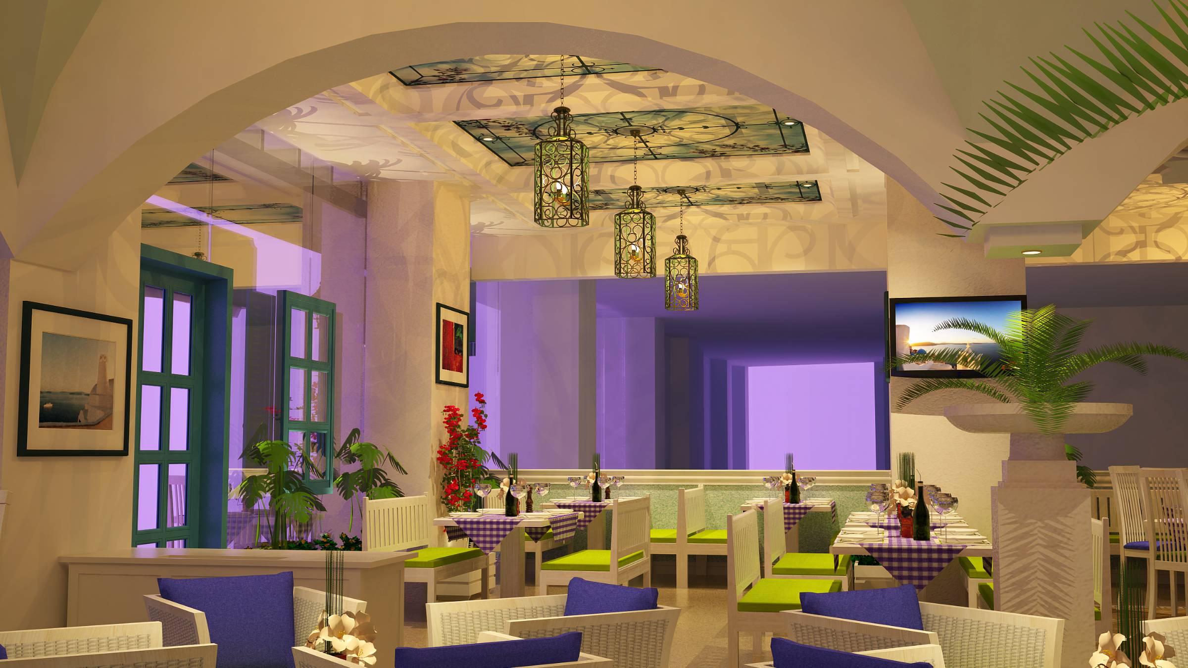 Fresco restaurant Mediterranean dining seating