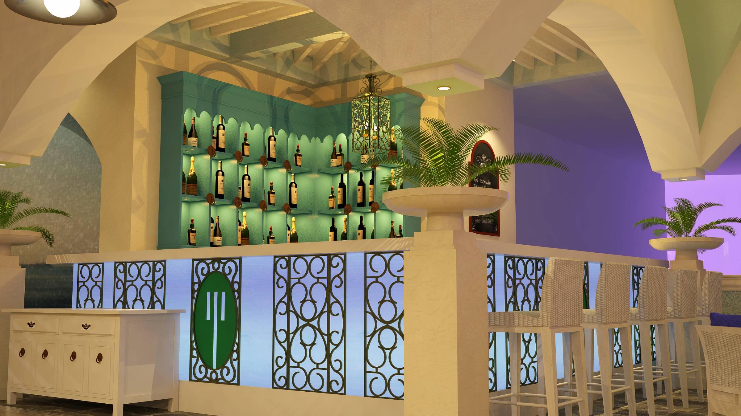 Fresco restaurant backlit bar aqua blue counter