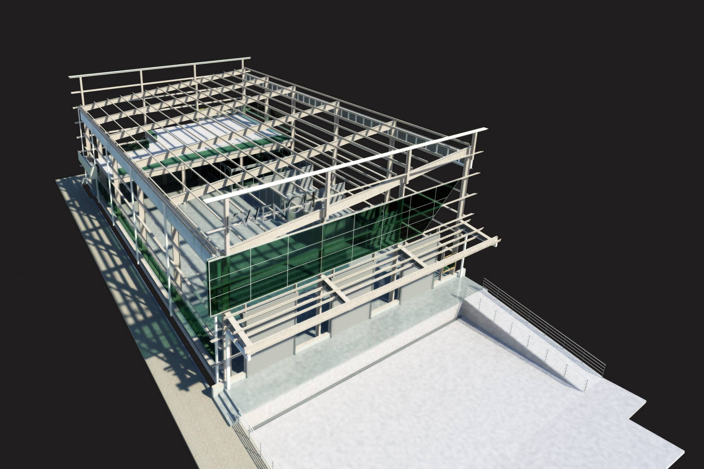 Kwench Plant Aerial BIM Structural view
