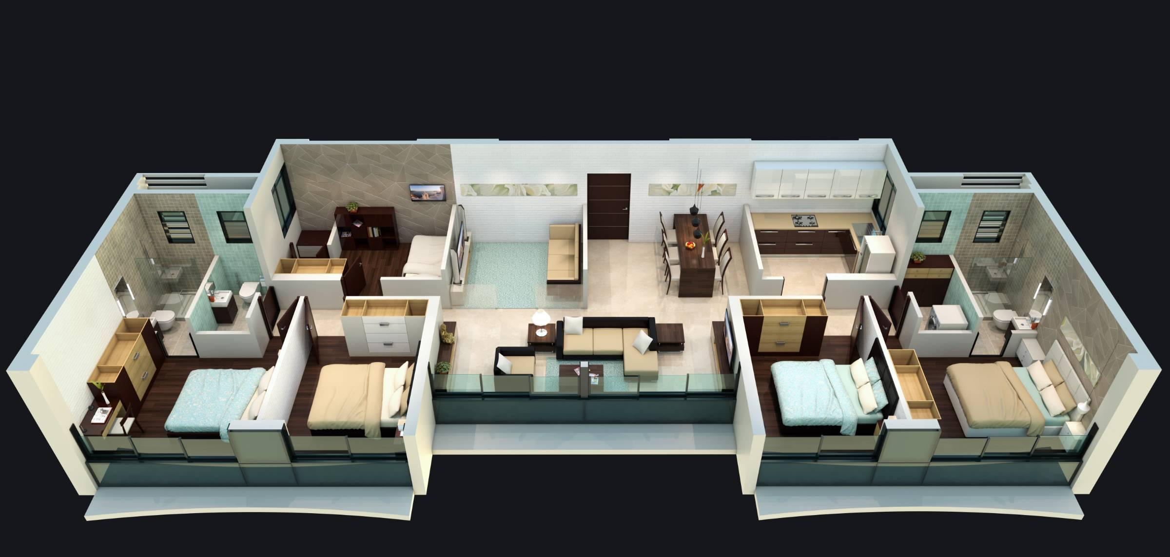 Sonas Towers 3D apartment isometric view