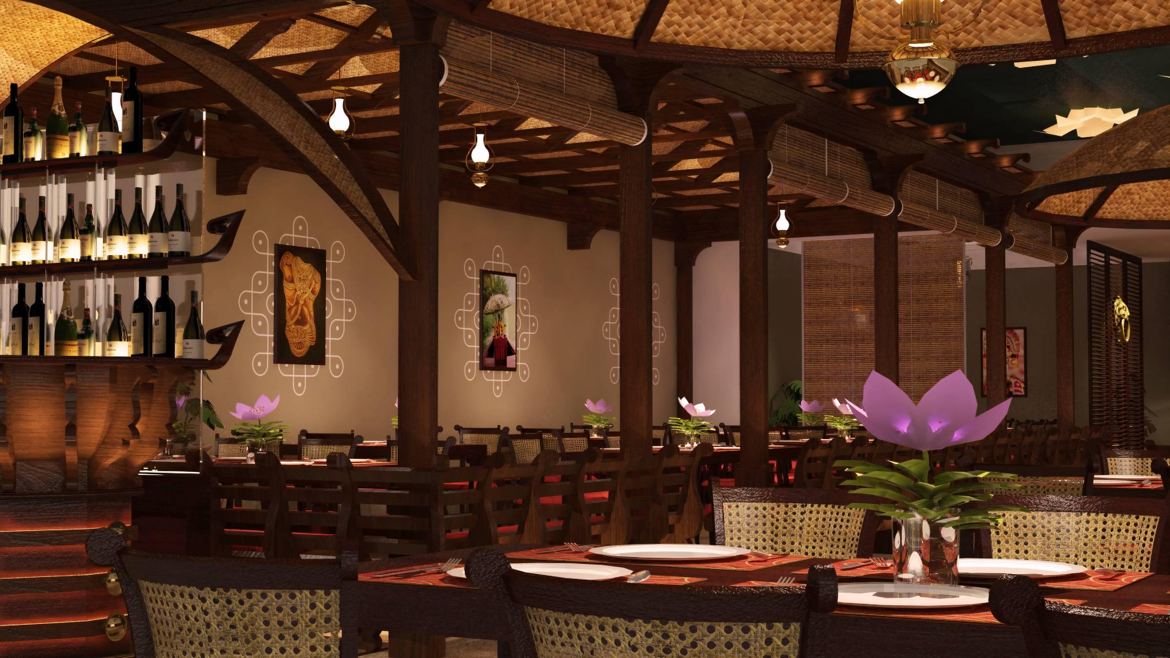 Zambar restaurant wooden houseboat gazebo view