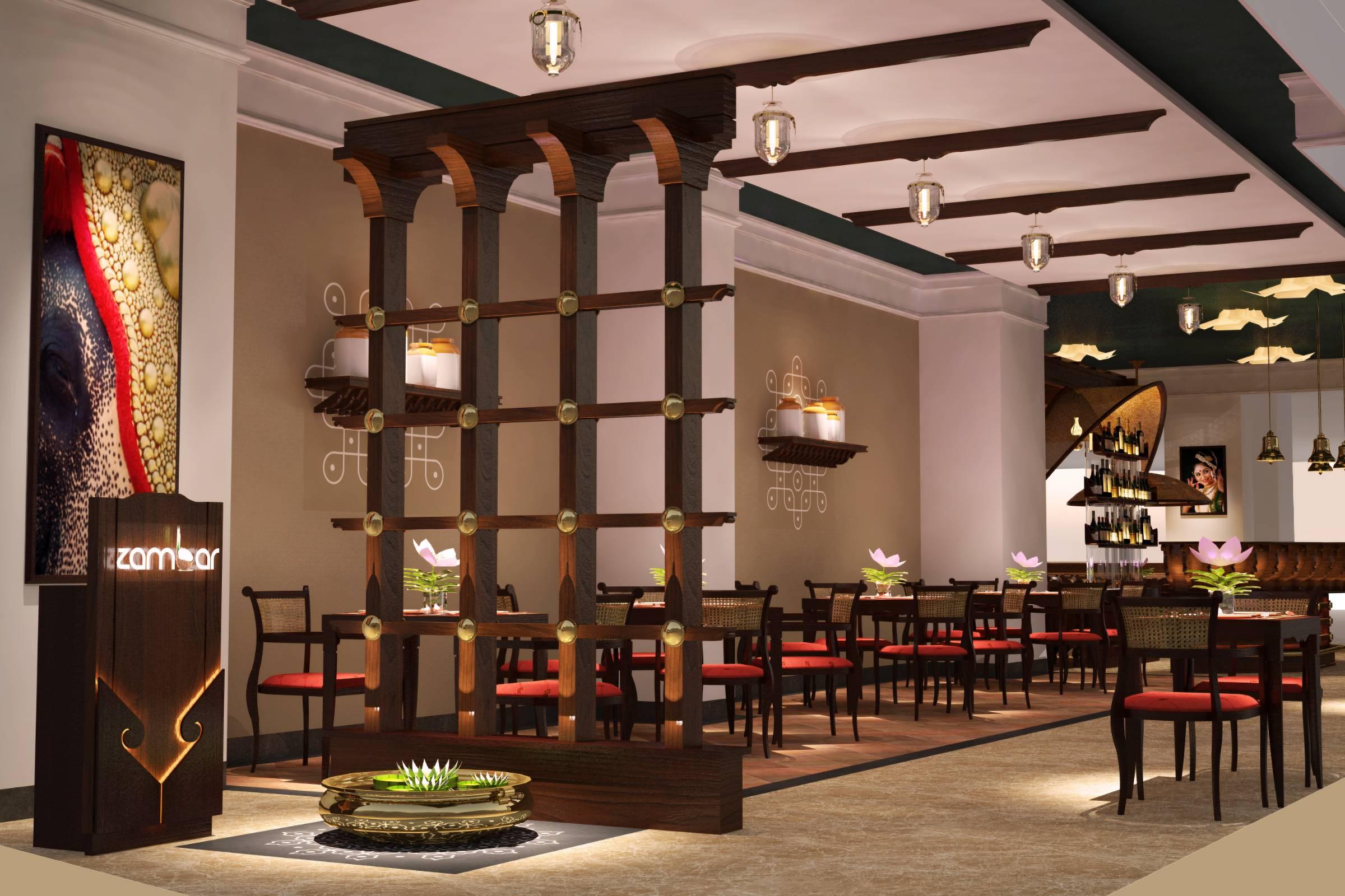 Zambar restaurant lobby with urli and trellis