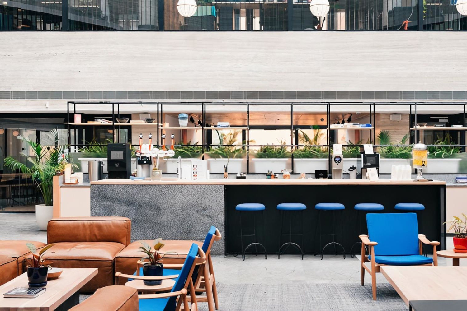 Coworking space lobby at WeWork